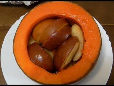 как запечь тыкву с яблоками в духовке