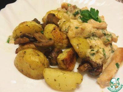 как запечь картошку с грибами в духовке