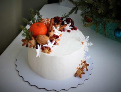 как украсить торт мандаринами